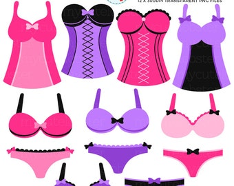 Lingerie Clipart Set - clip art set of bras, corsets, knickers, pretty pink lingerie - personal use, small commercial use, instant download