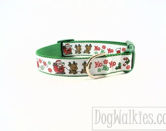 """Santa & The Reindeer Green Christmas Dog Collar / 1"""" (25mm)wide / Choice of style and size - Martingale Dog Collars or Quick Release Buckle"""
