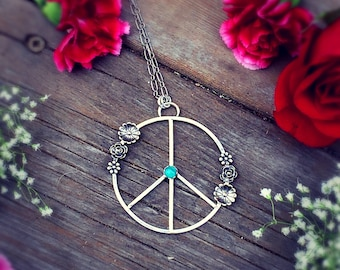 Large Peace Necklace, Hippie Jewelry, Flower Turquoise Necklace, Festival Necklace, Festival Jewelry, Peace Sign Jewelry, Statement Necklace