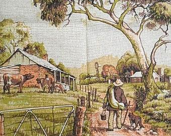Vintage Tea Towel ~ The Australian Swagman