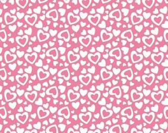 Valentine Fabric, Riley Blake Fabric Holiday Hearts, C561 Pink Hearts Fabric, Valentine Hearts, Valentines Day Fabric, Pink Fabric, Cotton