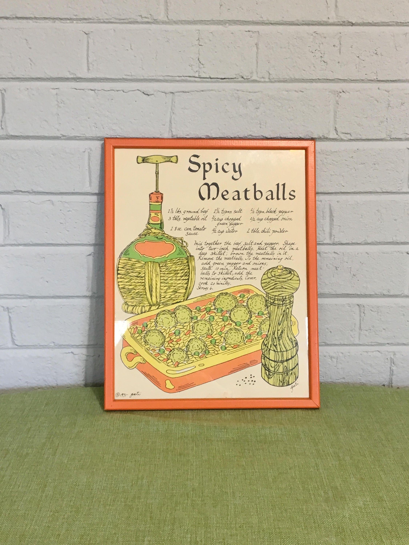 Vintage Spicy Meatballs Kitchen Art