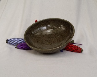 OOAK Carved Green Shallow Bowl Wheel Thrown