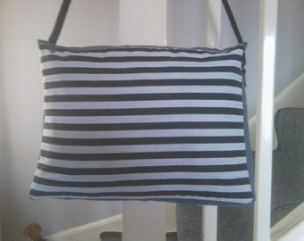 denim shoulder bag with striped panel at front