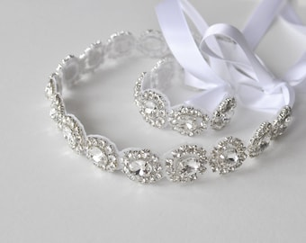 Wedding SET headpiece, bracelet, AMELIA, Rhinestone Headband, Wedding Headband, Bridal Headband, Bridal Headpiece, Rhinestone