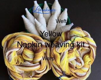 Yellow Weaving Kit for 4 Napkins, Weaving Loom Kit, How to Weave Kit, Loom Weaving, DIY Weaving Kit, Pre-wound Warp, Handweaving
