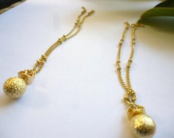Gold Ball Earrings - Gold Sphere Earring - Gold Stud Earrings - Single Sphere Earring - Gold Dangle Earrings - Gold Drop Earrings