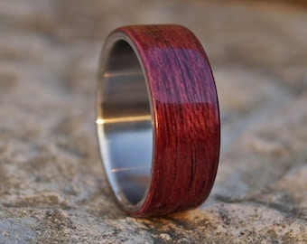 Stainless steel and amaranth wood band ring