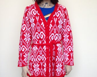 Vintage Red & White Patterned Knitted Belted Cardigan - Yummy