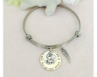 Personalized Handstamped Mom loss, Child loss, Husband Loss. remembrance Stainless Steel Bangle
