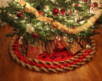 Ruffled Christmas Tree Skirt, , Red satin and Burlap Classic Christmas Tree Skirt, Rustic Country Christmas