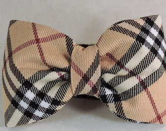 Dog Flower, Dog Bow Tie, Cat Flower, Cat Bow Tie - Ivory, Black and Red Plaid