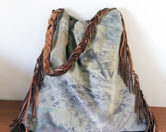 Ladies side bag. Large fabric and leather slouchy purse with braided leather shoulder strap and fringe. Perfect festival bag  for wife.