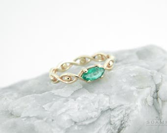 SOlid 14k gold emerald ring, white gold emerald ring , emerald gold ring, rose gold emerald ring