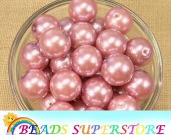 20 mm Dusty Rose Pearl Chunky Bubblegum Round Bead - Gumball Bead - Acrylic Chunky Bead - 10 pcs (CHP22)