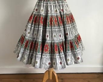 Beautiful 1950s Pleated Ethnic Style Circle Skirt, XS