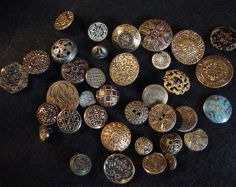 Buttons, Brass Pictures and Various designs, Vintage