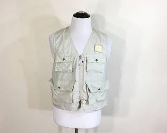70's vintage zip up fishing vest 60/40 cotton poly blend size M