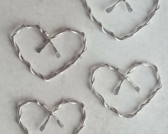 Sterling Silver Heart Charm - Silver Heart Charm - Silver Findings - Silver Components - Silver Earring Findings - Artisan Earring Findings