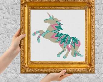 Mandala Unicorn Cross Stitch Pattern, Floral Unicorn  Silhouette Counted Cross Stitch, Unicorn Animal Modern Home Decor Nursery