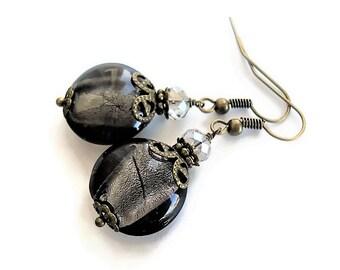 Boho Earrings Glass Jewelry Crystal Earrings Bohemian Jewelry Long Earrings Statement Jewelry Gypsy Earrings Vintage Style Dangle Earrings