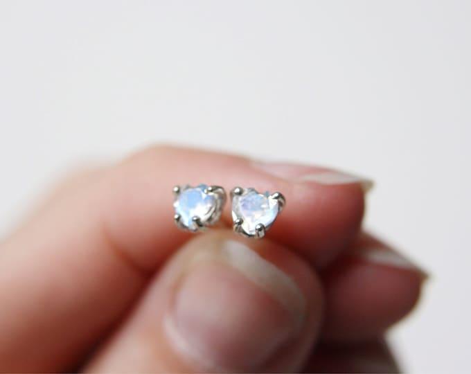 4mm Heart Cut Moonstone Stud Earrings