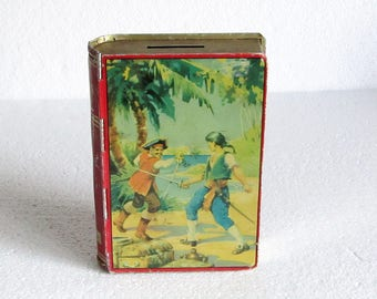 Rare Chad Valley Collectible Book Shaped Tin Box Pirates, Vintage Collectible Pirates Book Tin, Book Shaped Money Bank - made in England 50s