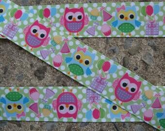 """3 yards Owl Ribbon printed ribbon Birthday Owl Ribbon Printed Grossgrain Ribbon 1"""" ribbon ribbon by the yard"""
