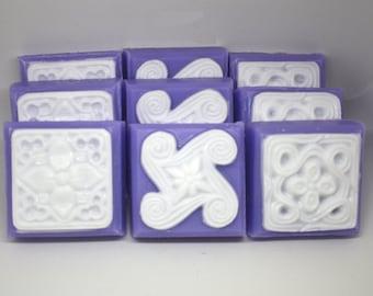Set of 9 Brocade Tile Soaps - pretty soap, party favor, soap set, gift soap, mothers day, stocking stuffer, decor, housewarming, fancy soap