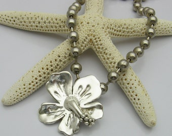 Silver Necklace, Silver Flower Necklace, Hibiscus Flower, Silver Hibiscus, Handmade Hibiscus, Handmade Silver Flower, Tropical Flower