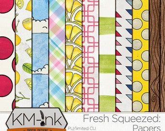 """Lemonade Digital Patterned PAPERS- """"Fresh Squeezed"""": Hand Painted Summer Backgrounds in yellow, pink, blue, green- Instant Digital Download"""