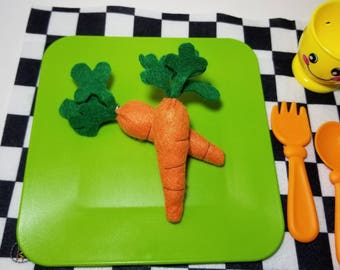 Embroidered felt play food - TWO Carots - vegetable pretend play kitchen