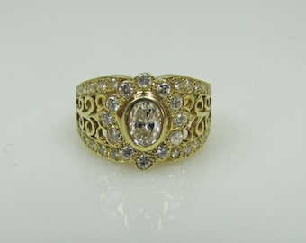 14K Gold Diamond Etruscan Floral Cluster Ring. Size 5.5. Middle Eastern Ring. Indian Asian Engagement Bridal Ring, Appraisal Certificate