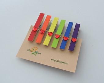 Rainbow peg magnets, decorative fridge magnets, rainbow magnets, pride, small gift, pack of 6, handmade