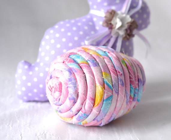 Easter Egg Ornament, Pink Bowl Filler, Handmade Easter Egg Decoration, Artisan Hand Coiled Fiber Easter Egg, Basket Filler