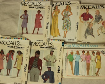 McCall's Pattern Lot of Six, Misses Size 8-12 Dated 70's and 80's Dress, Jacket, Top