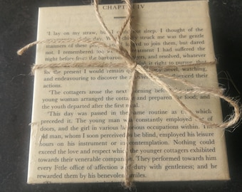 Set of 4 Hand Crafted Tile Coasters Covered in Pages Out of a Second Hand Copy of Frankenstein