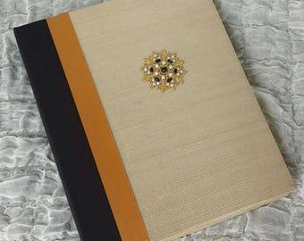Wedding Photo Album, Hand-Beaded medallion, Grass Cloth,  Gold & Black Photo Album, Anniversary, Special Occasion Album, 8x10, Hand-made