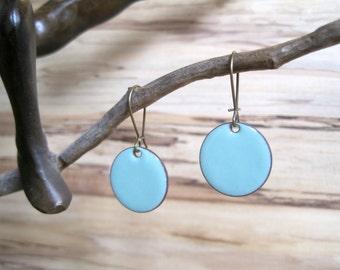 Robins Egg Blue Drop Earrings, Bright Blue Earrings, Dangle Earrings, Copper Enamel Jewelry, Nickel Free Kidney Earwires