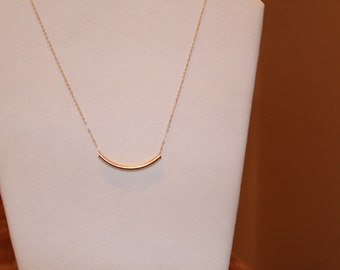 Gold Tube Necklace | curved tube necklacr, gold filled curved tube necklace