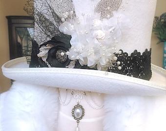 Schwarz und weiß Steampunk Hut