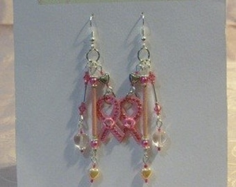 Pink Hearts and Pearls,Crystal Awareness Ribbon Earrings