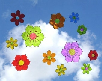 Colorful Flowers Set of 12 (mix)- Window Art suncatcher clings, decals