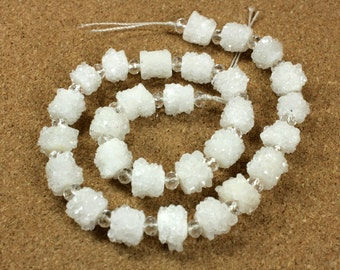 Stalactite Druzy Short Cylinder Beads - White Crystals Center Drilled Tube Beads, HALF STRAND