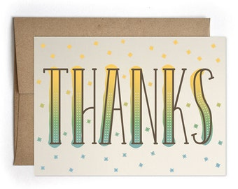 Thank You Card, Thank You Notes, Cards for Him for Her, Modern Card for Him - Thank You Greeting Card