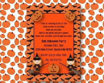 DIY Printable Halloween Party Invitation pumpkin halloween Invite postcard kids invitation children's party invitation printable download