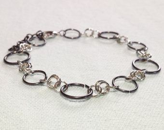 Black and Silver Jump Ring Bracelet