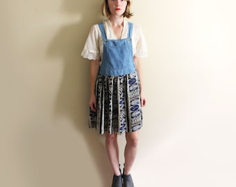 vintage jumper dress 90's denim boho hippie grunge 1990's women's clothing size small s