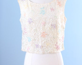 1960s cream wool knit beaded top / 60s Hong Kong beaded top / Pastel Foliage top
