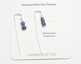 Tanzanite Silver Ear Threads, Silver Threader Earrings, Sterling Silver Ear Threads, Silver Ear Threaders Tanzanite Silver Threader Earrings